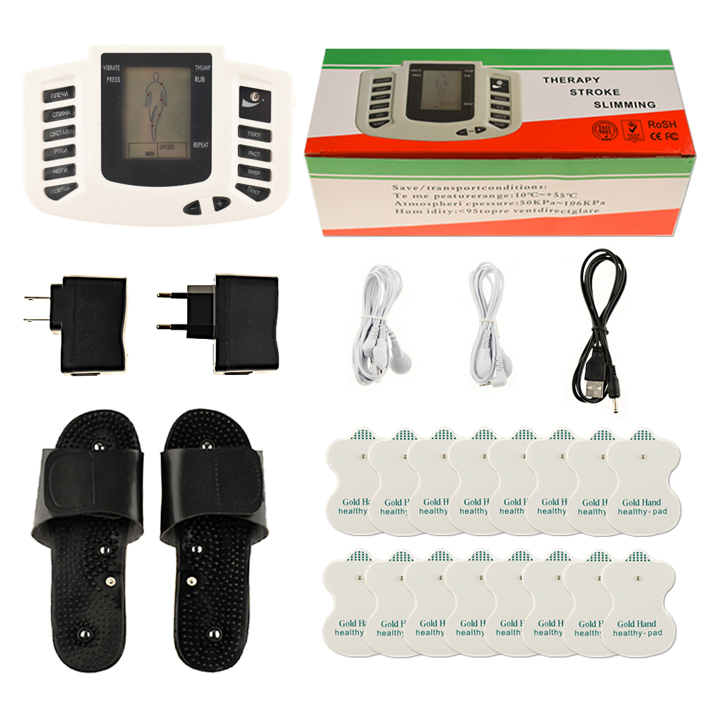Russian Button Slipper+16pcs Electrode Pads Electrical Muscle Stimulator Body Relax Massager Pulse Tens Acupuncture Machine hot electric slimming full body relax pulse muscle stimulator tens therapy machine massager vibrateur with 20pcs tens pads