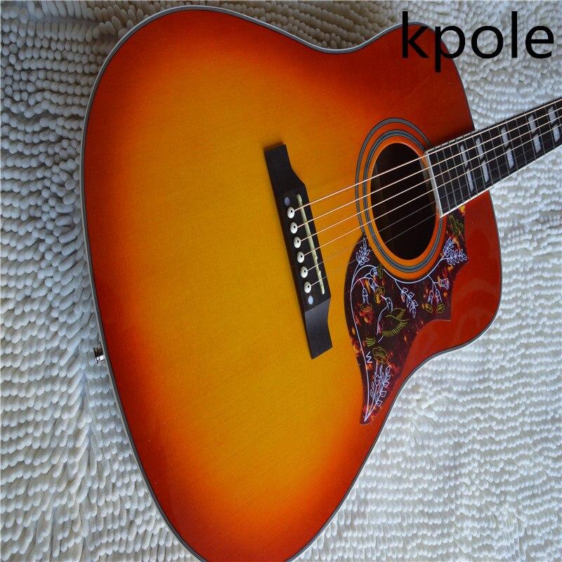 Free Shipping Top Factory custom shop Kpole cherry sunburst hummingbird acoustic guitar