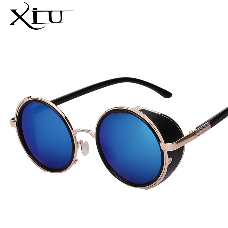 XIU óculos de Sol Homens Steampunk Óculos De Sol Retro Rodada Do Vintage  Envoltório de Metal 1bb7176029