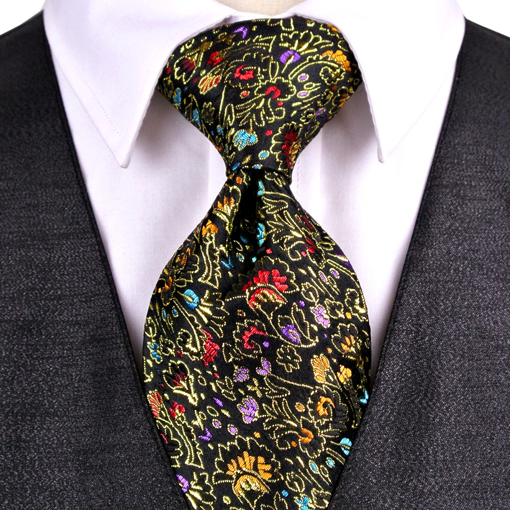 Floral Navy Blue Black Brown Mens Ties Neckties 100% Silk Jacquard Woven Free Shipping Suit Gift For Men Fabulous Handmade