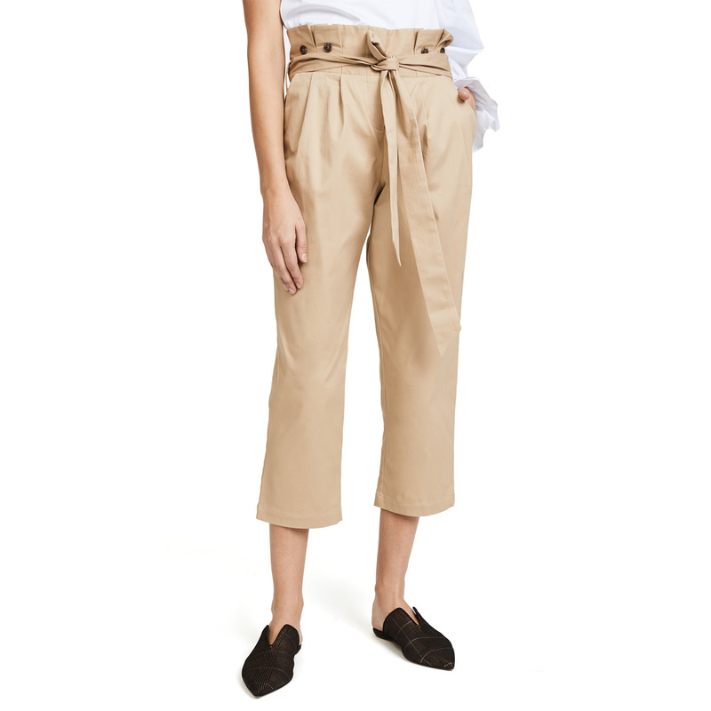 western style fashion solid color high waist lace-up SML XL XXL woman Casual calf-length   pants   lady cropped trousers   Capri     pants