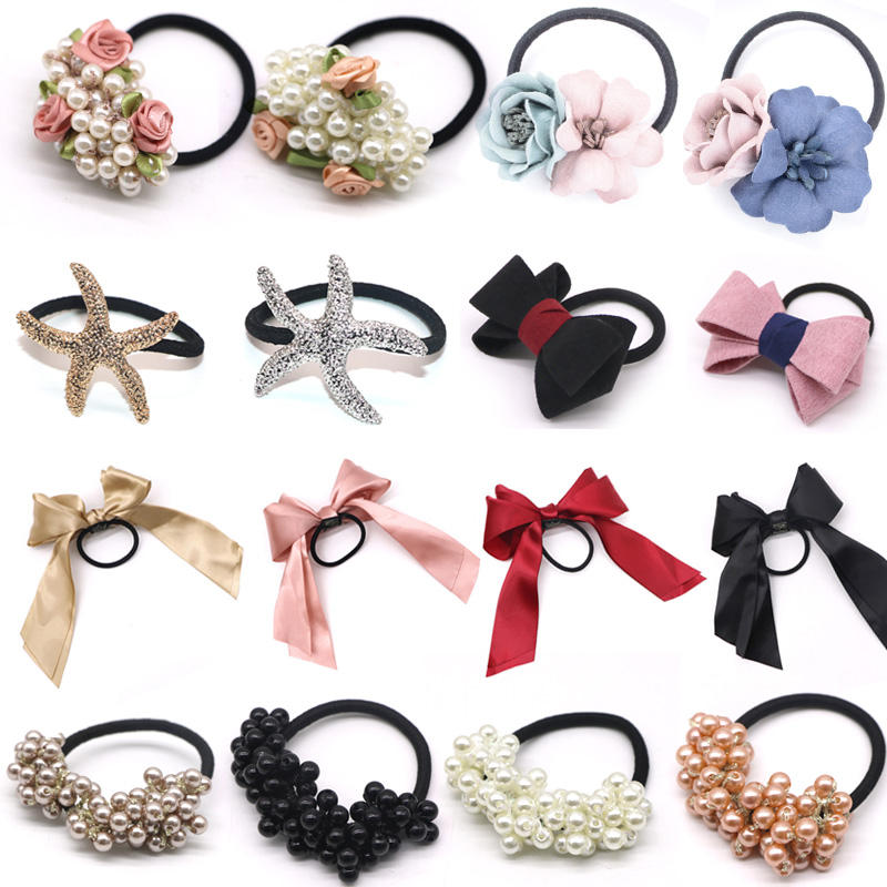 Pearls Beads Headbands Ponytail Holder Girls Scrunchies Vintage Elastic Hair Bands Rubber Rope Headdress Women Hair Accessories