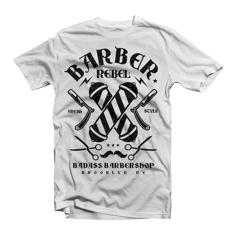 mens dtg BARBER REBEL urban blade cut hair vintage shop funny t shirt High Quality Casual Printing Tee
