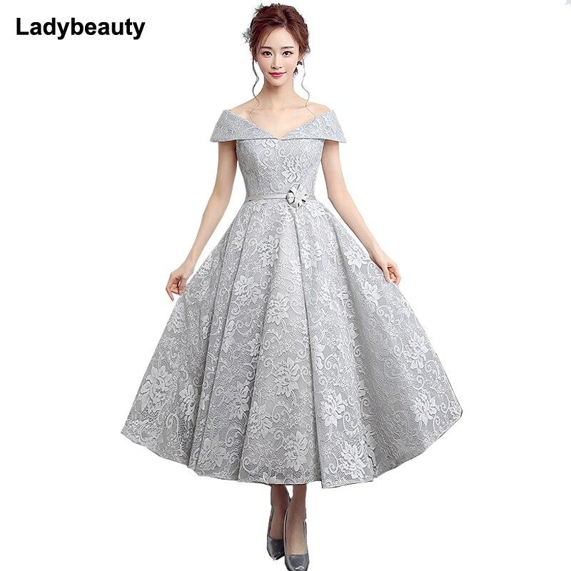 Ladybeauty 2019 New Elegant Prom Party Dress Evening Lace Dresses Vestido de Festa V neck Lace