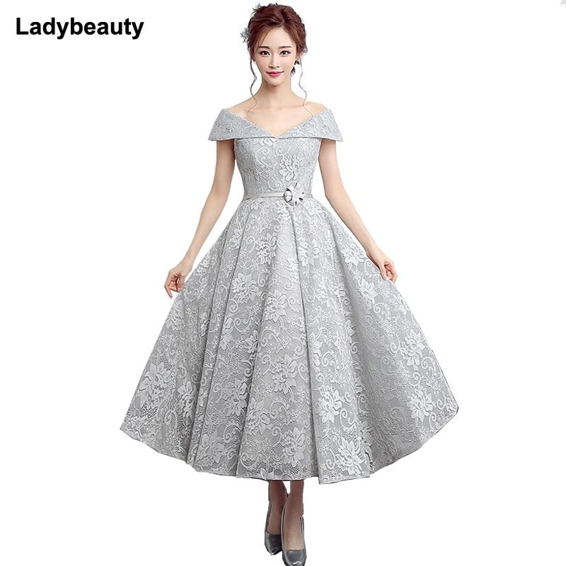 Ladybeauty 2018 New Elegant   Prom   Party   Dress   Evening Lace   Dresses   Vestido de Festa V-neck Lace -up Gown Sleeveless Vestidos