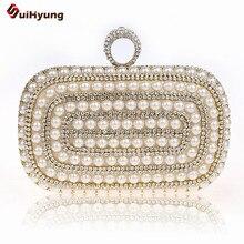 Luxus Frauen Party Bling Strass Perle Abendtasche Elegante Perle Braut Handtasche Ring Hochzeitstag Kupplungen Mode Umhängetasche