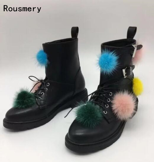 2017 Fall New Fashion Women Black Leather Colorful Full Balls Lace Up Front Buckles Low Heels Pom Pom Short Ankle Boots Big Size frank buytendijk dealing with dilemmas where business analytics fall short