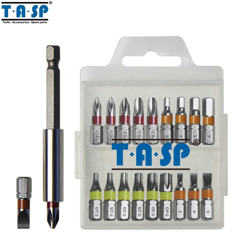 TASP 20pcs Colour Coded Screwdriver Bit Set Head PH Torx Flat Hex Head With Magnetic Holder & Storage Box - MSWB2025