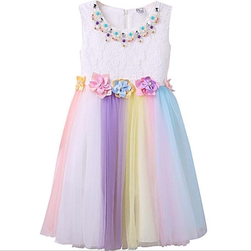 new girls performing rainbow dress Girls Festival Dress  baby children princess dress Costume Dress fashion lovely cute teenager сандали ecco 821014