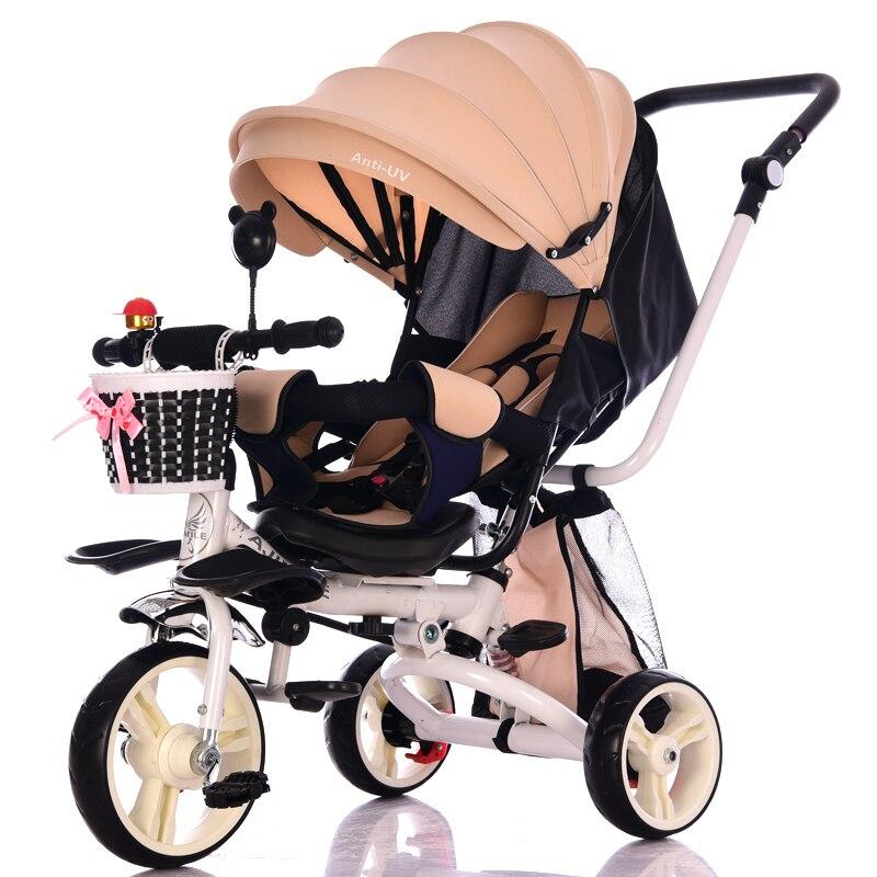 Léger pliant enfants Tricycle peut s'allonger inclinable trois roues bébé Tricycle vélo poussette voiture voyage nouveau-né bébé chariot