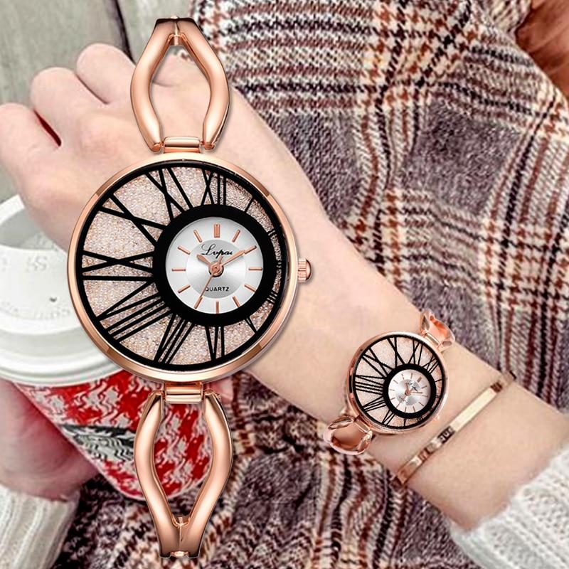 Lvpai Brand Ladies Bracelet Watch Luxury Rose Gold Women Dress Quartz Wrist Watch Clock 2019 New Kol Saati Relogio Feminino Gift