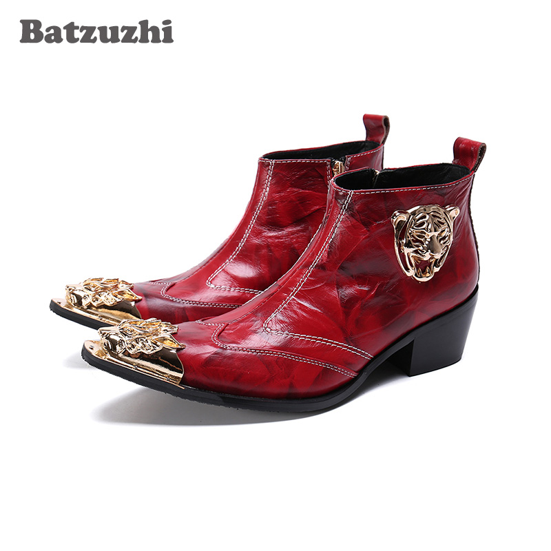 Batzuzhi Luxury Boots Men Pointed Metal Tip Soft Leather Ankle Boots Zip Red Wedding and Party Boots Bota Masculina, Big US6-12