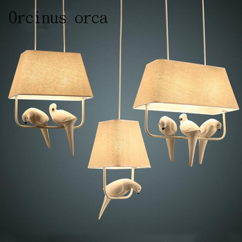 Nordic style dining room lamp chandelier three bird art   personalized creative bedroom study