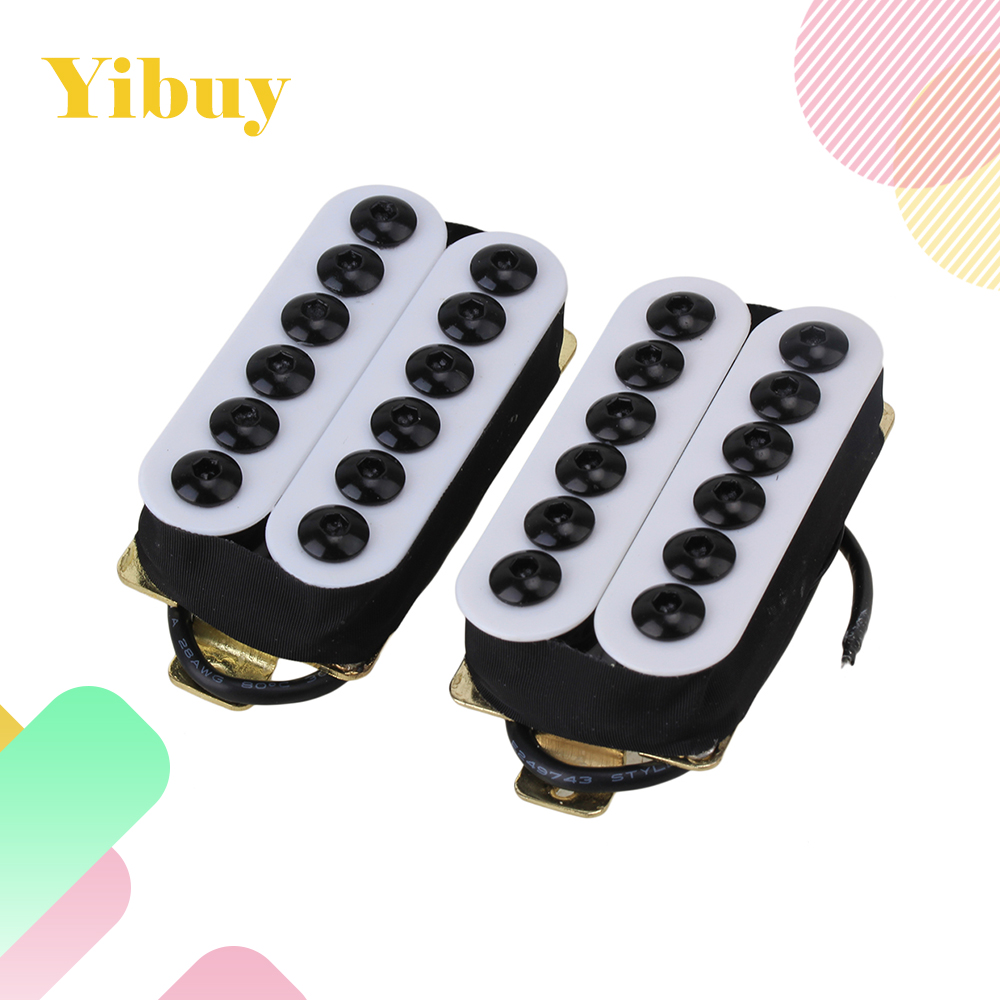 цена на Yibuy HOC-WH-TMB Black White Metal Double Coil Electric Guitar Pickups Humbucker Punk