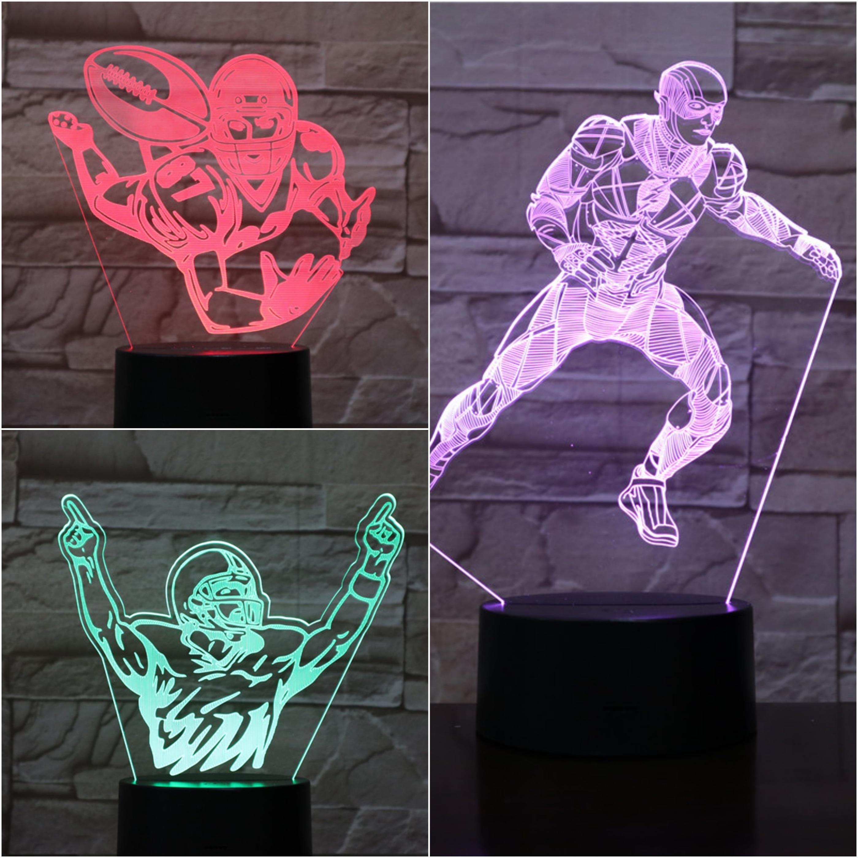 American Football Player Action Figure 3d Led Night Light Usb Children Kids Fans Gift Baby Nightlight Sports Desk Lamp Bedside