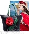 2017 Spring Summer Weava Women Messenger Bags Three Hard Rose Red Vintage Beach Shoulder Large Messenger Bag Wine Red/ White