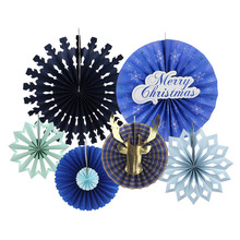 2018 NEW Christmas Decorations Pinwheel Rosettes Paper Fans For Holiday Xmas Party Home