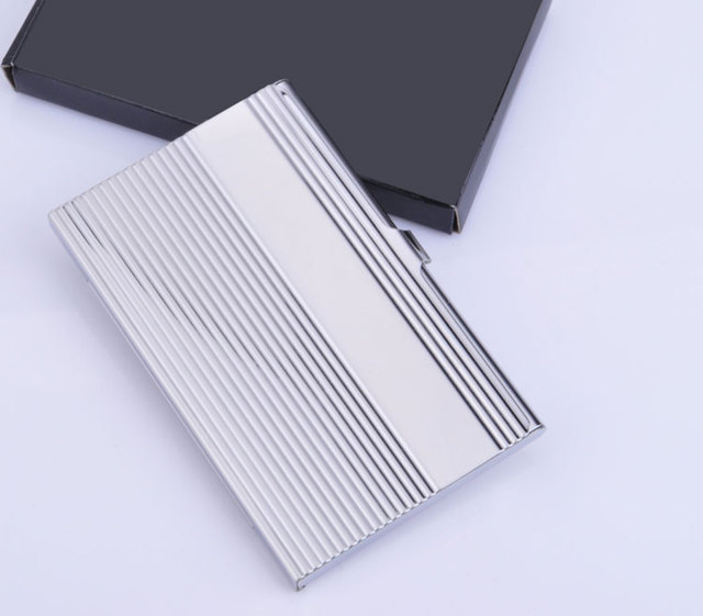 Silver Long Stripe Clamshell Type Stainless Steel Business Card Box Stock Commercial Cardfile Porte Carte Visite Inox Quality