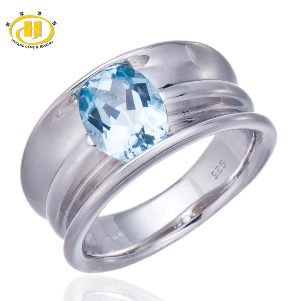 Hutang Real Sky Blue Topaz Gemstone Rings Solid 925 Sterling Silver Ring Women s Fine Classic