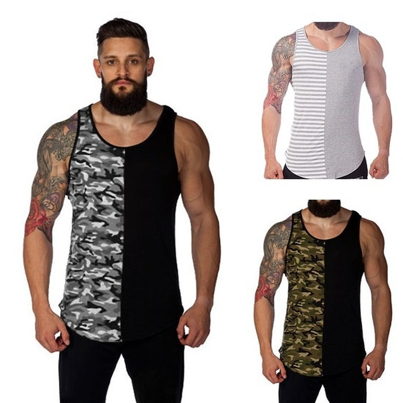 ZOGAA men clothing 2018 bodybuilding Casual fashion stitching   tank     top   3-color camouflage gym   tank     top   plus size S-3XL fitness