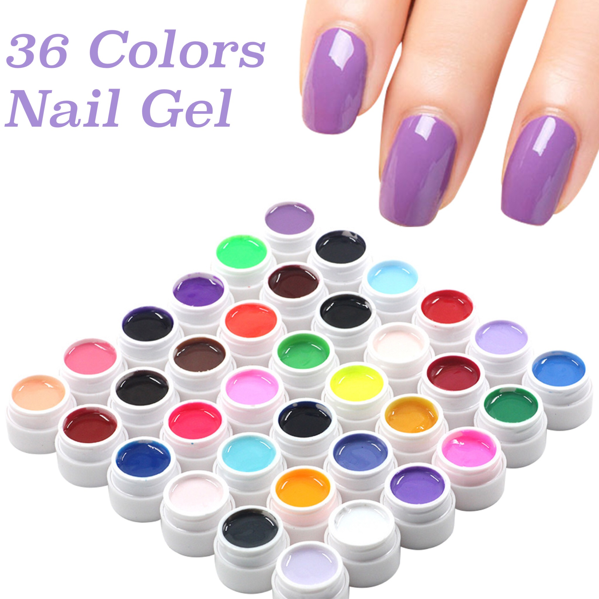 36 Boxes Solid Color Nail Gel Pure Colors UV Gel Shiny Extension Longlasting Nail Art Tips Glue Nail Painting Polish Varnish 120 180 colors professional manicure salon nail art uv gel polish tips card display board book chart palette 3 colors