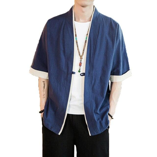 2019 Men Cotton Linen Jacket China Style Kongfu Coat Male Loose Kimono Cardigan Overcoat Open Stitch Coat Male Windbreaker 5XL