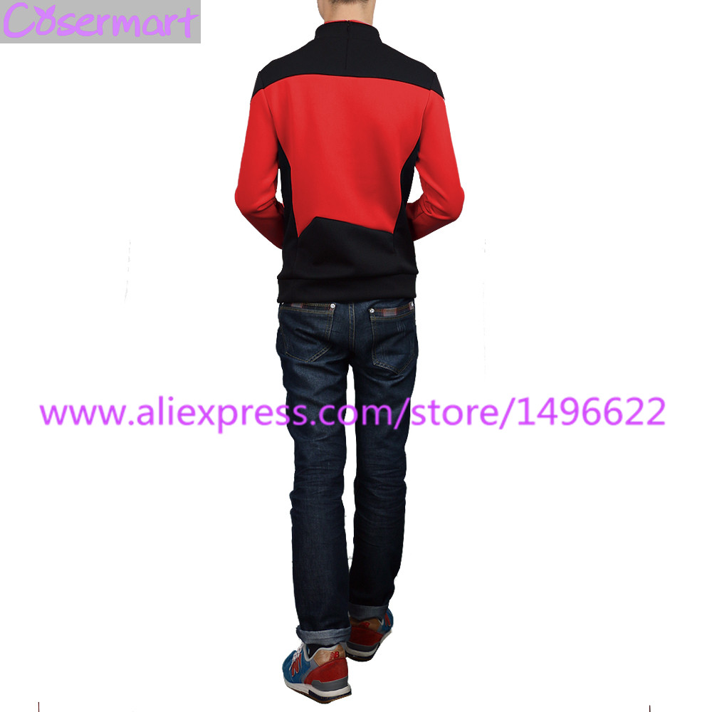 Star Trek TNG The Next Generation Red Yellow Blue Shirt Uniform Cosplay Costume For Men Coat Halloween Party (3)