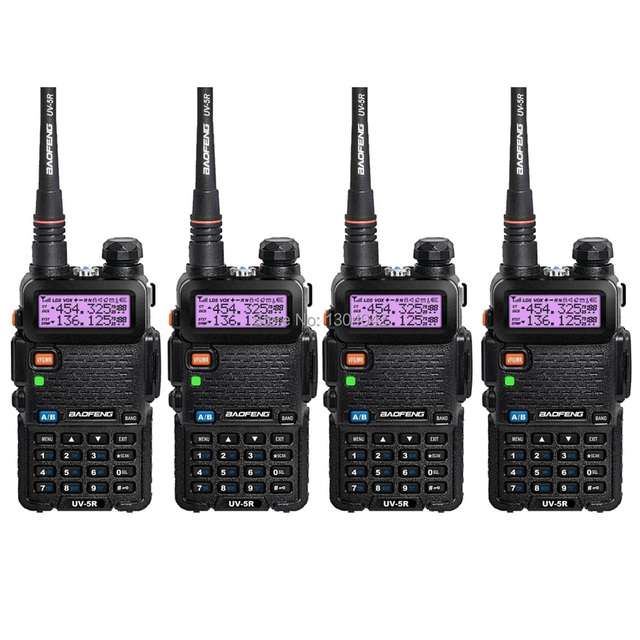4 PCS New Black BAOFENG UV-5R Walkie Talkie VHF/UHF 136-174 / 400-520MHz Two Way Radio With Free Shipping