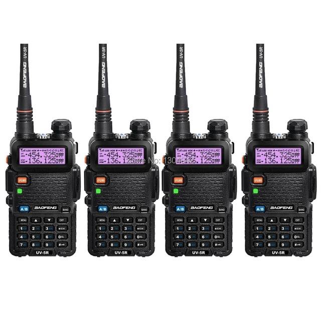 4 UNIDS Nueva Negro BAOFENG UV-5R Walkie Talkie VHF/UHF 136-174/400-520 MHz Dos forma de Radio Con El Envío Libre