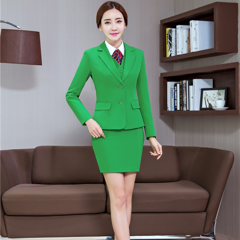 Green Long Sleeve Autumn Winter Formal OL Styles Blazers 3 Pieces Jackets + Skirt + Vest For Ladies Women Work Wear Skirt Suits
