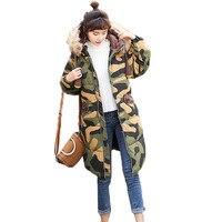 2018 Fashion Warm Winter Jacket Women Army Green Winter Women Hooded Coat Down Parkas Thicken Warm Long Outerwear