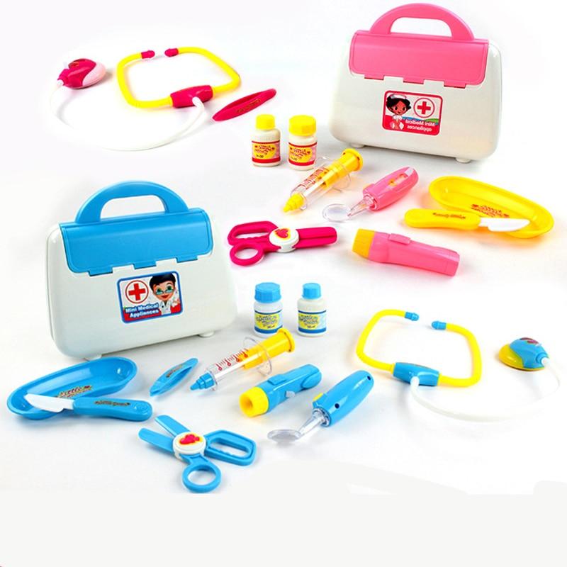 15PCS set Simulation Doctor Toys Nurse tools toys Dívka dárek Klasické hračky Medical Doctor Tool Box Kids Medicine Hračky Předstírat Hrát