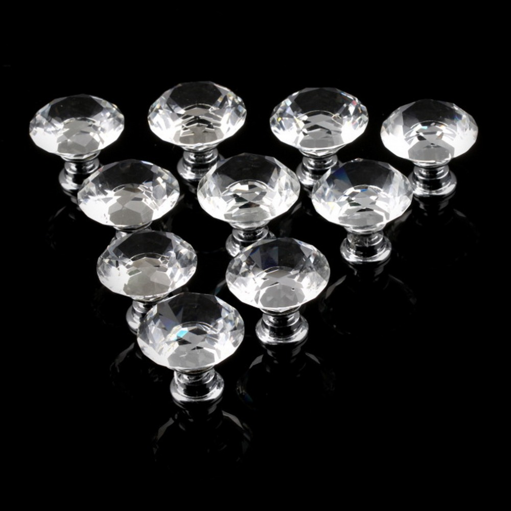 10Pcs 30mm Diamond Plated Shape Crystal Glass Knob Cupboard Drawer Pull Handle New Kitchen Door Knob Furniture Accessories shower bath door handle knob chrome plated 14 5cm holes apart 145mm