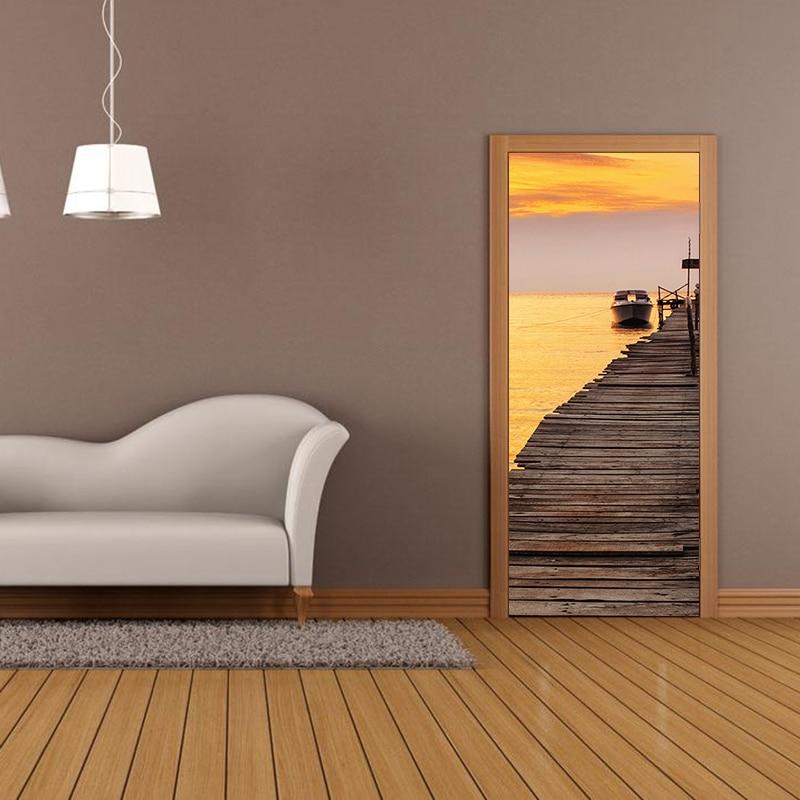 Creative DIY 3D Door Stickers Sea Sunset Pattern Home