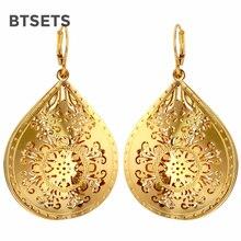 BTSETS Drop Earrings Big Indian Jewelry Earrings For Women Vintage Geometric Brincos Gold Color Wedding Hanging Earring