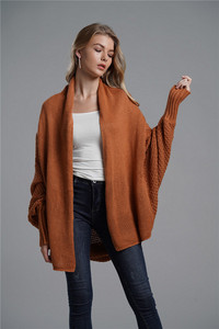 Image 2 - Fitshinling oversized camisola cardigan roupas femininas retalhos batwing manga longa outerwear feminino inverno casaco de tamanho grande