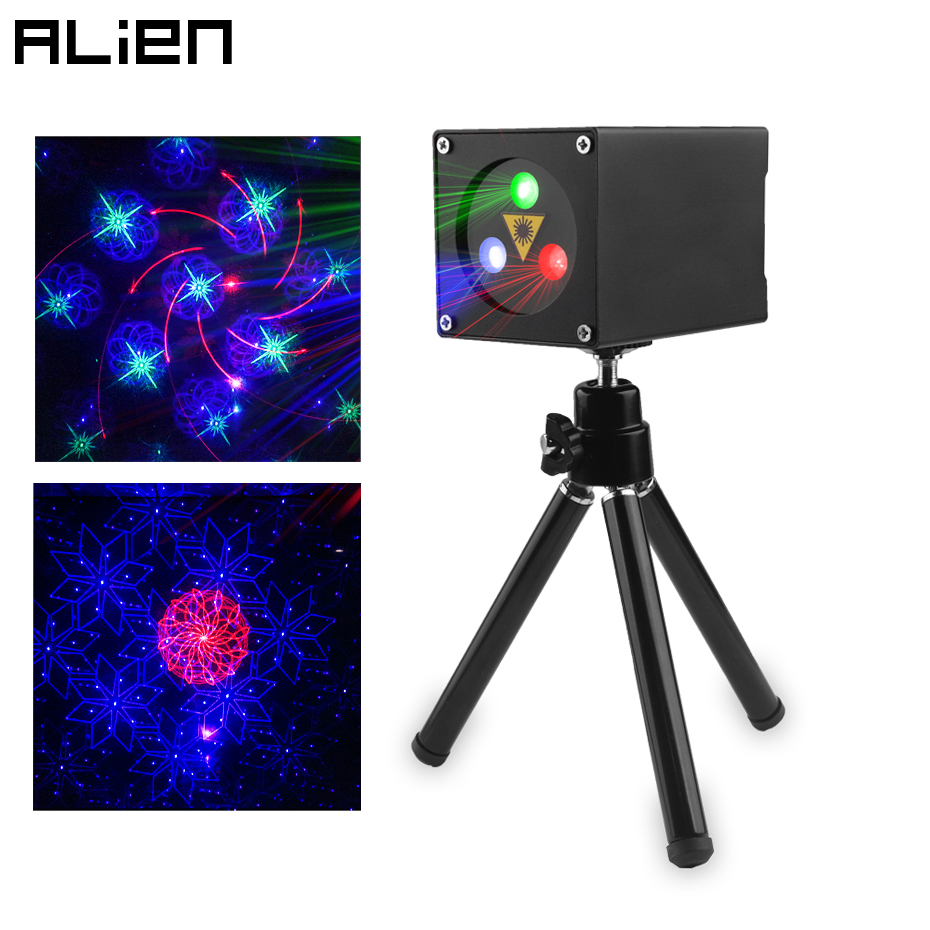 ALIEN 30 Patterns Mini RGB Rechargeable Laser Projector Stage Lighting Effect Party Wedding Bar DJ Disco Holiday Christmas Laser