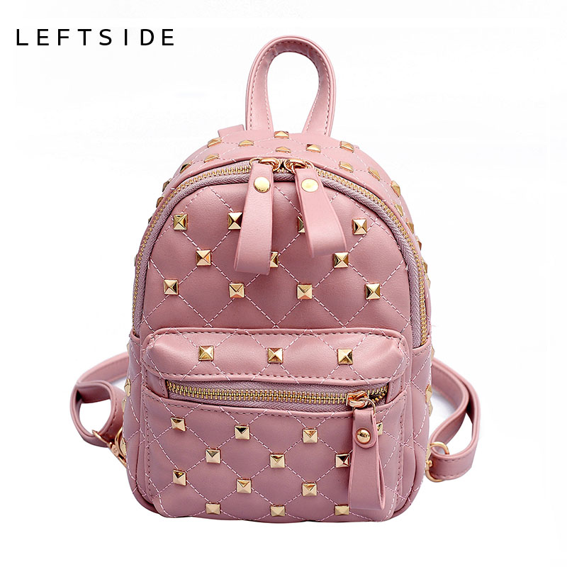 LEFTSIDE Women Rivet Small PU Leather Backpacks For Teenage Girls Mini Backpack  2018 Crossbody Bag Ladies Back Pack Bags-in Backpacks from Luggage   Bags  on ... 83de18e3d2d17