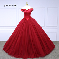 Yiwumensa Robe De Mariee Sexy V Neck Ball Gown Wedding Dress 2018 Off The Shoulder Red