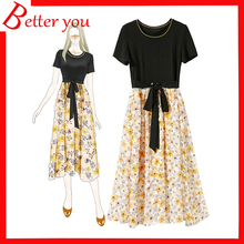 Hot sale summer dress women 2019 lace three-dimensional flower casual short sleeve fashion floral