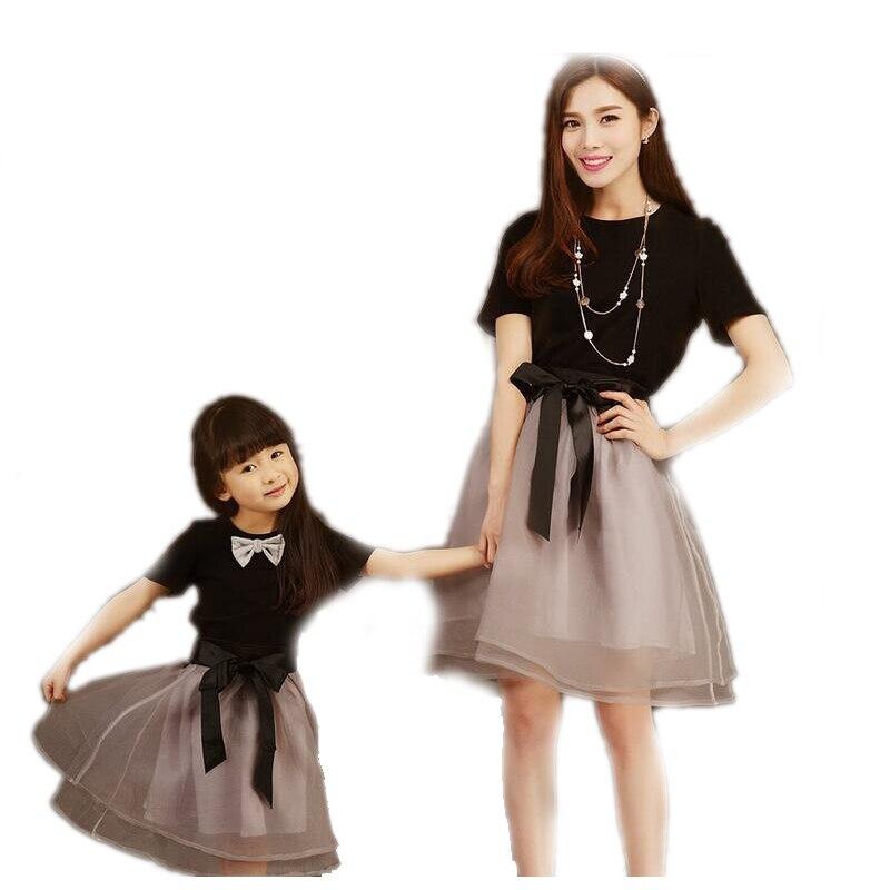 Bébé filles robes d'été maille correspondant mère fille robe grande taille dame à manches courtes T-shirt enfant en bas âge famille vêtements