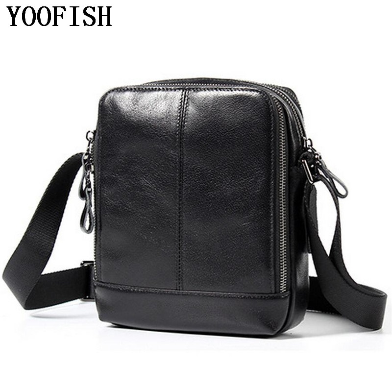 YOOFISH Genuine Leather Men Bag Male Vintage Small Shoulder Messenger Bags Crossbody Bags Messenger Bag anime attack on titan mini messenger bag boys ataque on titan school bags mikasa ackerman eren shoulder bags kids crossbody bag