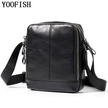 YOOFISH  Genuine Leather Men Bag Male Vintage Small Shoulder Messenger Bags Crossbody