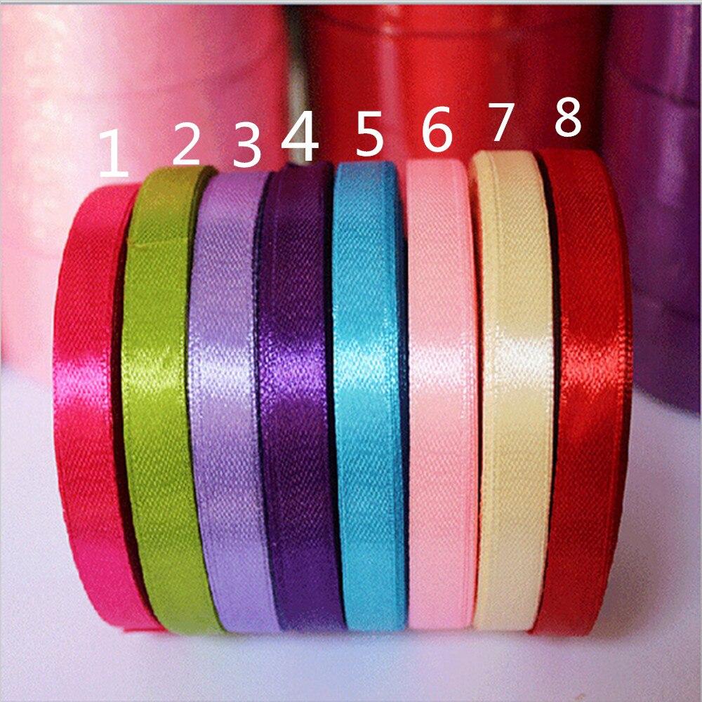 Ленты 25yards/roll 6 мм Ширина цветастый Шелковый Атлас Свадебная вечеринка украшения подарок корабля Вышивание Ткань Лента ткань Клейкие ленты DIY