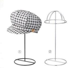 Negro/Blanco estante de muestra para gorros de metal pico cap pantalla cubo sombrero de paja sombrero estante titular peluca rack de almacenamiento