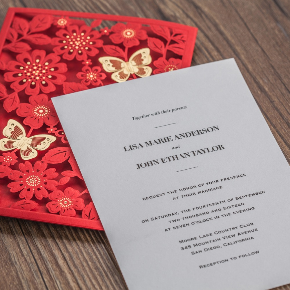 Laser Cut Wedding Invitations Cards with Butterfly Red White Gold ...