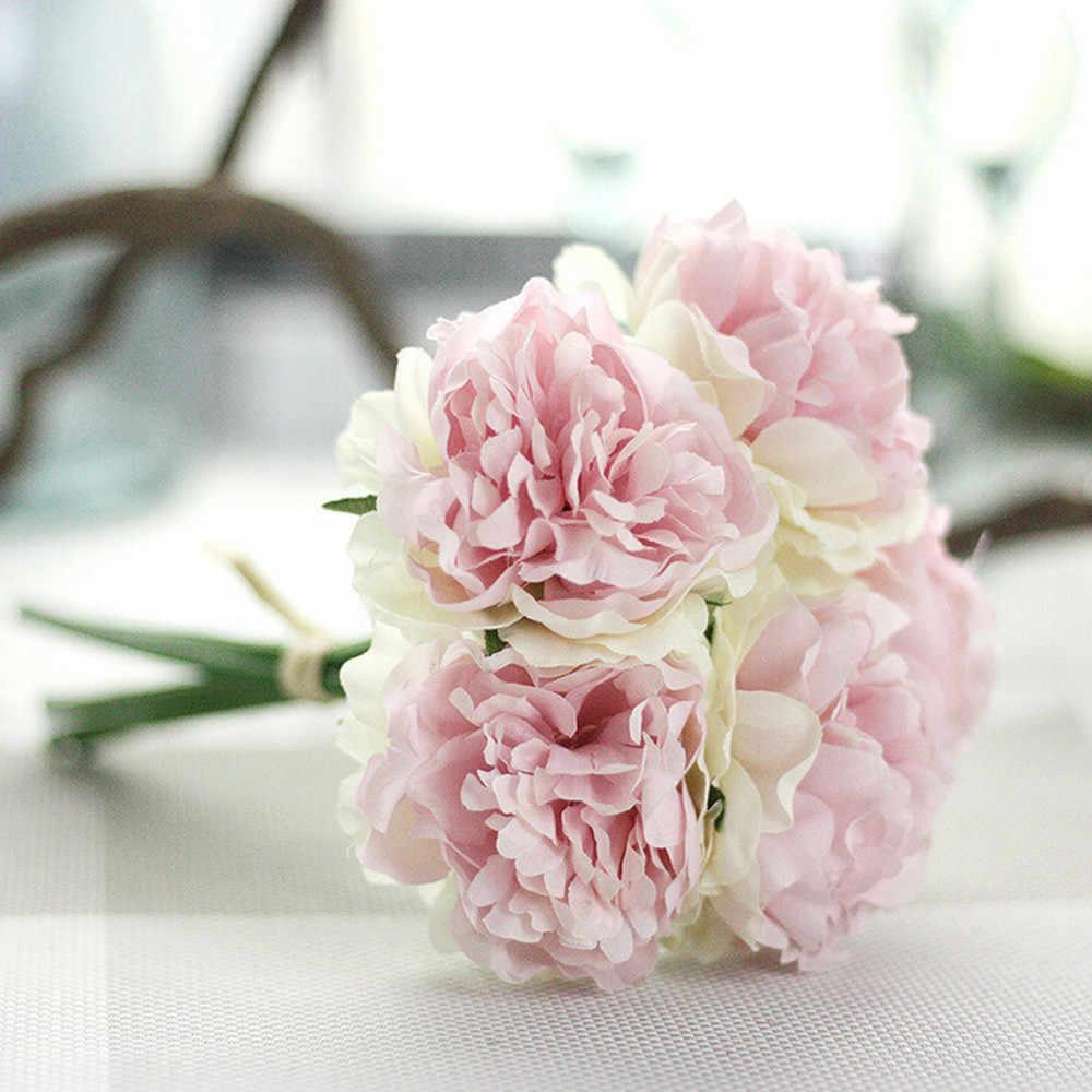 ローズピンクシルク牡丹人工花花束花の結婚式のブーケ花嫁アジサイ装飾結婚式の装飾のため屋内