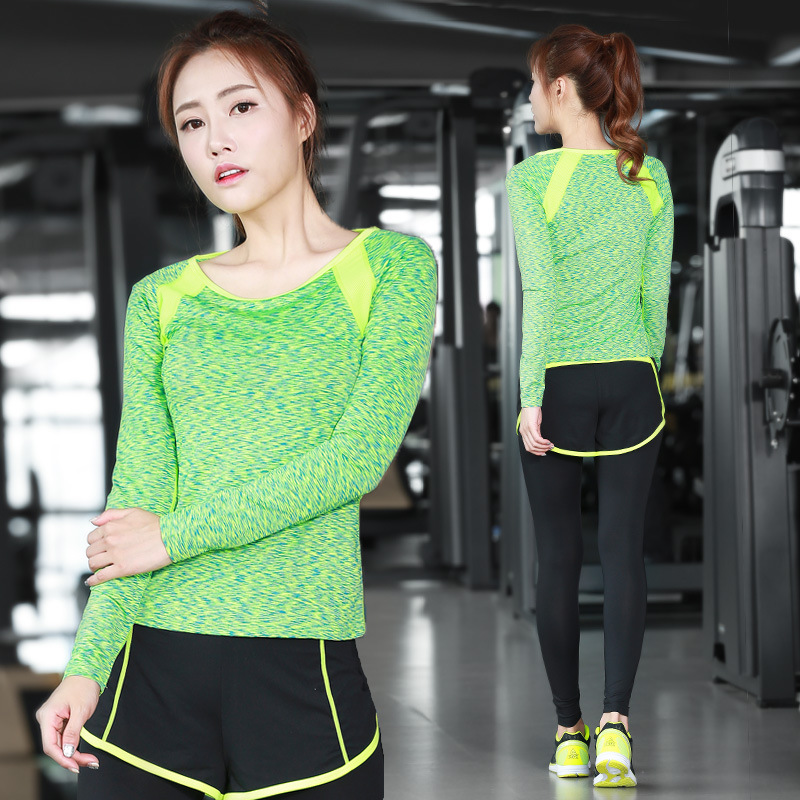 New womens yoga clothes set two piece suits sports running suit show thin fake quick dry long sleeves cloth 2018