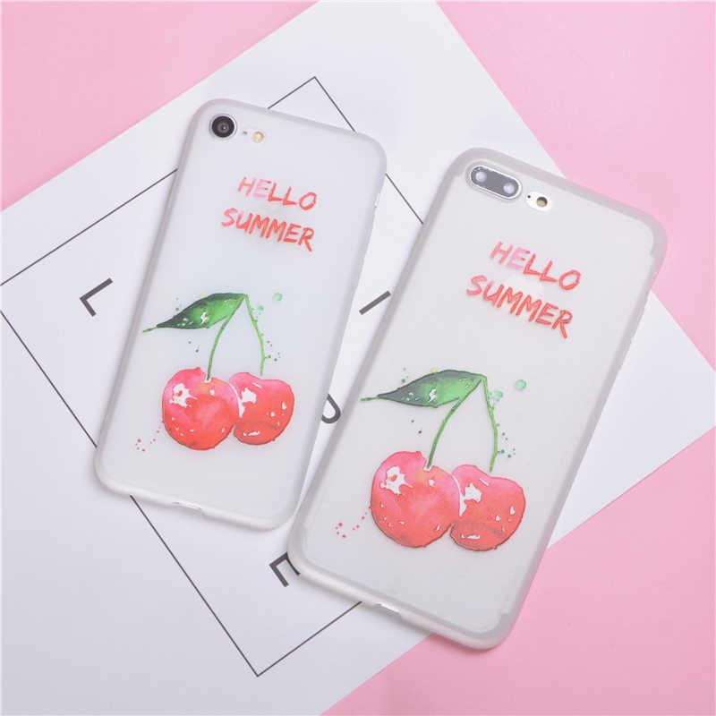 Для iPhone X 10 простая розовая летняя матовая задняя крышка для телефона с фруктами для iPhone 6 6 S 7 8 Plus прозрачный силиконовый чехол для телефона