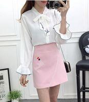2018 Spring New Fashion Women White Blouse Top Emboridery Skirt 2 Pcs Clothing Set Outfit Girl